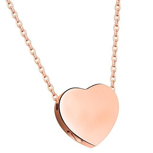 PAURO Mujer Acero Inoxidable Colgante De Plata Flotante Plateado Oro del Corazón Colgante Collar Conmemorativo del Sostenedor De La Ceniza De La Urna