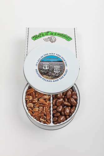 Heaton Pecans Two-Way Gift Tin - Oven Roasted/Salted Pecans and Chocolate Covered Pecans (3 lbs)