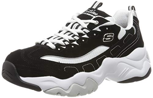 Skechers DLites 3.0-Stride Ahead, Zapatillas Mujer, Negro (BKW Black Leather/White Mesh/Silver Trim), 39 EU