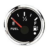 ARTILAURA Marine Fuel Level Gauge for Boat 240-33ohm 0-190ohm Fuel Gauge Black Fuel Tank Meter Gauge Waterproof 2-1/16' 52mm Replacement Fuel Gauge for Universal AUTO Car Truck Vehicle Diesel RV