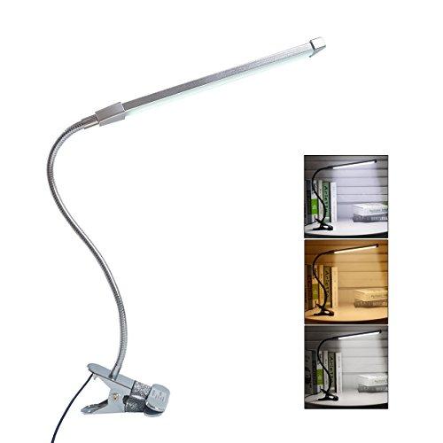 Eyocean Leselampe Buchlampe, Schreibtischlampe LED Büro Tischleuchte 3 Farb- und 10 Helligkeitsstufen dimmbar, Netzteil Inklusive, Arbeitsplatzleuchten, LED Leselampe mit Klammer