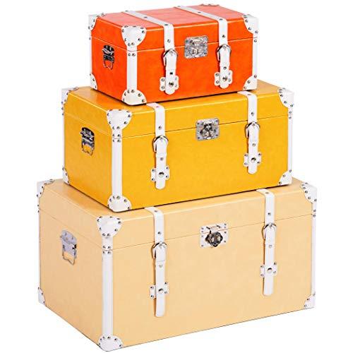 ts-ideen Juego de 3 maletas como baúl de madera, estilo vintage, piel sintética, estilo rústico, 3 colores