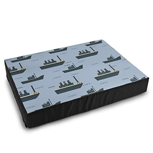 YAGEAD Haustierbetten Nahtloses Muster mit Schiffen Hundebett für mittelgroße kleine Hunde Beruhigendes waschbares wasserdichtes Kissenbett