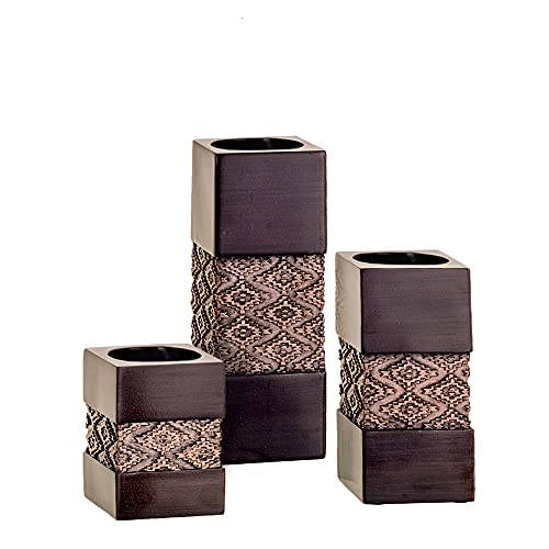 """Tealight Candle Holders Table Decor Gift Set of 3 - 2 x 2"""" by 3.2/4.75/6.25"""" Height Centerpieces for Living/Dining Room Table, Coffee Table Decor for Fireplace/Entrance or Bathroom ( Dublin Brown )"""