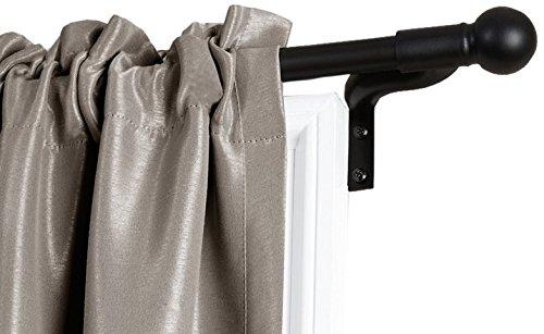 MAYTEX Smart Measuring Easy Install Café Window Rod, 18 inch-48 inch, Black