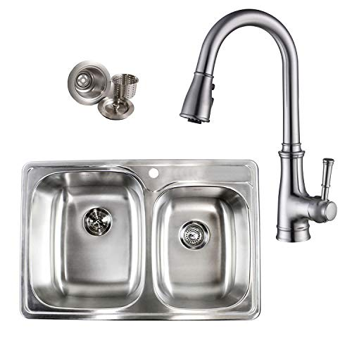 Topmount Drop-In 18-Gauge Stainless Steel 33-1/8 in. x 22 in. x 9 in. 60/40 Offset Double Bowl Kitchen Sink and Single Handle Pull Out Nozzle Kitchen Faucet Combo (1 Faucet Hole)
