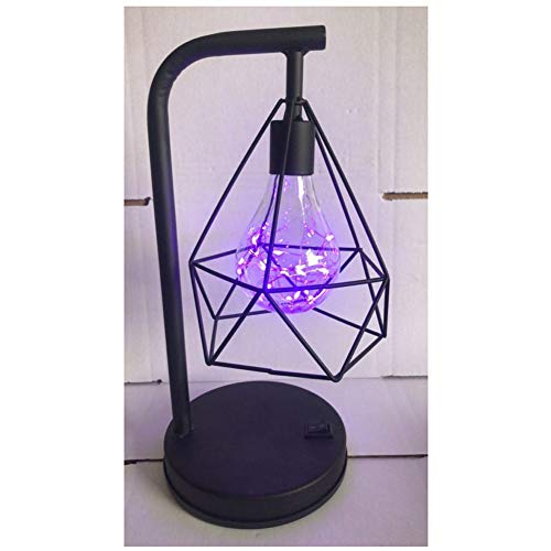 Bedside Table Lamp - Flashing Lights Contemporary Bedroom Lamp for Soft Bedside Light - Retro Black Geometric Wire Industrial LED Light Bulb Bed Side Battery Table Lamp (Purple, 1)
