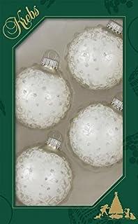 White Rosy Cheeked Jeweled Pearls Beads Polar Bear Christmas Tree Ornament