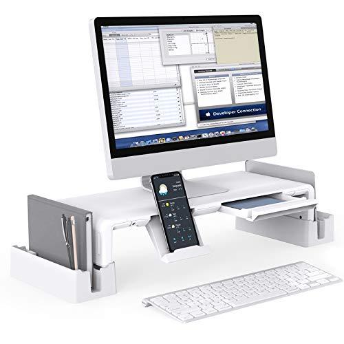 Monitorstander mit AufbewahrungsfunktionMiiKARE Verstellbarer Bildschirmstander mit ausziehbarer SchubladeHandy Stander2 AufbewahrungsgestelleLaptopstander Bildschirmerhoher fur ComputerLaptopTV