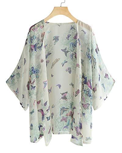 Sunnyme Dames zomer gebreide jas Boho strand Kimono Cardigan Tops Floral Print chiffon blouse casual los oversized