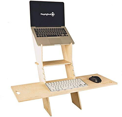 PimpMyDesk STEHSCHREIBITISCH, Steh-Sitz Schreibtisch, Tragbares, höhenverstellbares Laptop-Stehpult für zu Hause. Holz, leicht, einfach zu tragen. (Large)