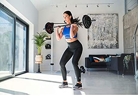 GIPARA FITNESS Obsydian Pump-Set 2 x 2,5 kg 2 x 5 kg 6 x 2-Grip Hantelscheiben 2 x 1,25 kg 1 Langhantel 2,5 kg Hot Iron und Body Pump 2 x Verschl/üsse F/ür Crossfit aus Urethan 9-teilig