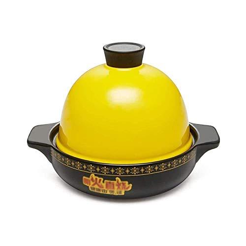 Yjll kookpan met deksel, pot van keramiek, met open vuur, pot voor hoge temperatuur, soeppan, gezondheid, braadpan met grote inhoud 1,6 l