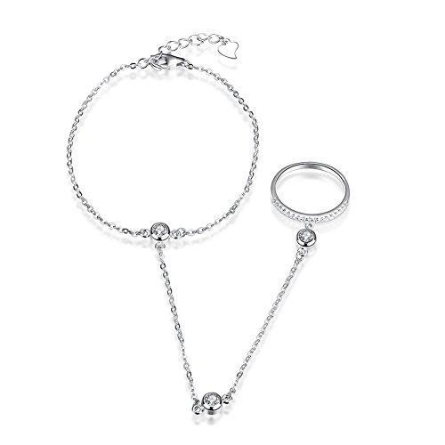 IVYRISE Elegant Sparkle 925 Sterling Silver Slave Chain Link Finger Ring Bracelets Fine Jewelry for Girls