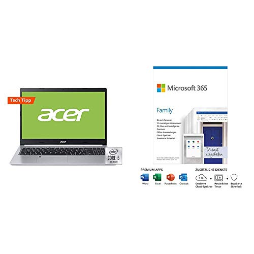 Acer Aspire 5 Multimedia Laptop, Silver + Microsoft 365 Family | Box
