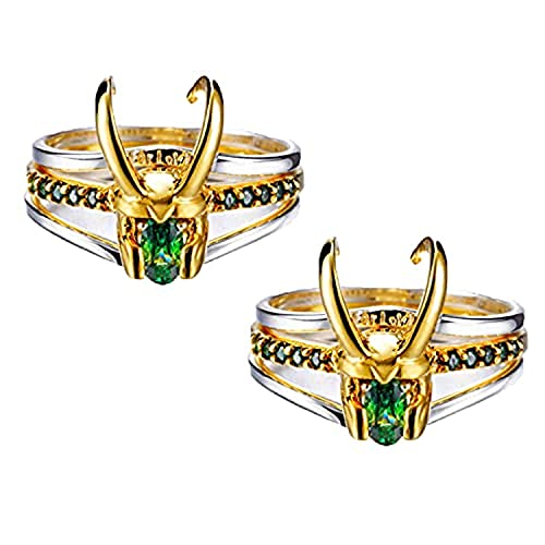 XLTWKK Loki anillo, tres en uno de plata 925 Thor anillo, Loki anillo pendientes para Loki Cosplay colección de vestuario, creativo anillo de regalo de joyería para hombres y mujeres (B)