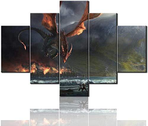 HNSYZS 5 Panel Painting Wandposter Moderne Poster Retro Galerie mit Pterodactyl Attack Fantasy-Szene verziert Kunstwerk drucken leinwand Wohnzimmer Dekoration