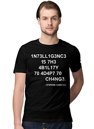 BLAK TEE Hombre Stephen Intelligence Is The Ability To Adapt To Change Quote by Mr. Hawking Camiseta M