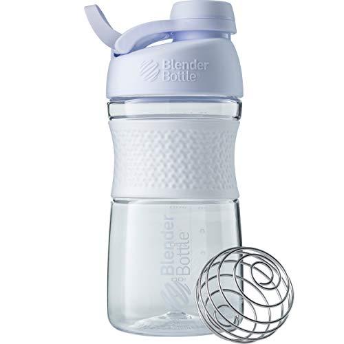 BlenderBottle Sportmixer Twist Tritan Trinkflasche mit BlenderBall, geeignet als Protein Shaker, Eiweißshaker, Wasserflasche oder für Fitness Shakes, BPA frei, skaliert bis 500 ml, 590 ml, weiß