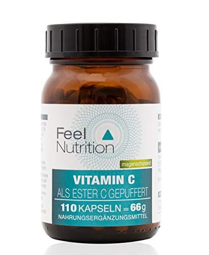 Vitamin C Ester-C® gepuffert - IM GLAS, OHNE WEICHMACHER - Pro Kapsel 395 mg elementares Vitamin C - OHNE Magnesiumstearat - vegan & hochdosiert - 110 Kapseln - Deutsche Premiumqualität