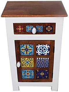 Contemporary Top Mango Wood Nightstand End Table Corner Table