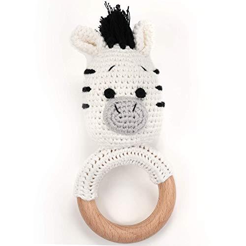 Beißring gehäkelte süßes Zebra mit integrierter Babyrassel, Greifling Spielzeug Holz und Baumwolle | Geschenk zur Geburt, Babyparty, Handmade Rassel für Baby & Kinder Junge/Mädchen (Zebra)