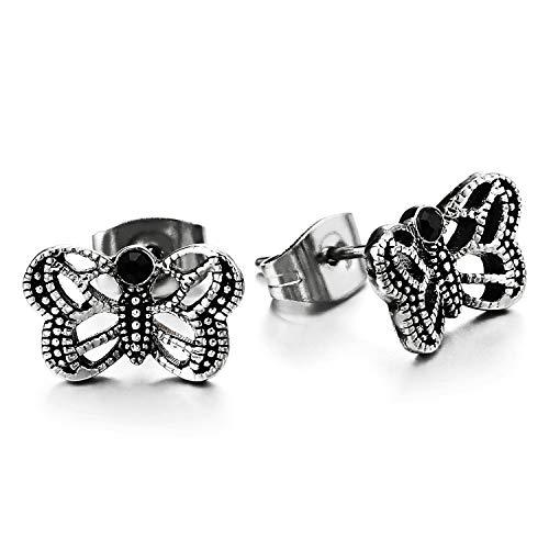 Par Vintage Puntos Volando Mariposa Pendientes con Negro Circonio Cúbico, Mujer, Acero Inoxidable, 2 Piezas
