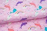 Emily&Joe's fabrics Stoffe Jersey Rainbow Whales Wal