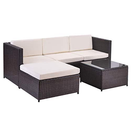 ModernLuxe Polyrattan Lounge Sitzgruppe Couch Sofagarnitur, Lounge Gartenmöbel, Ecksofa, Couchgarnitur mit Sitz- und Rückenkissen, Lounge-Tisch mit Glasplatte (Braun)