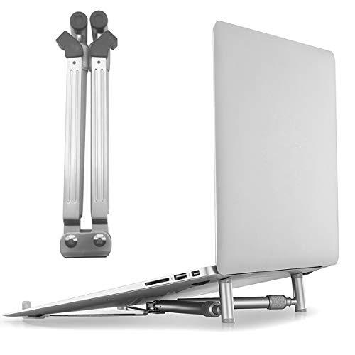 Jinxuny Laptop Stand, Verstelbare Notebook Riser Ergonomische 18-graden Tilt Ontwerp Opvouwbare Aluminium Geventileerde Computer Houder met Anti-Slip Siliconen Coating voor 12-17inch Laptops