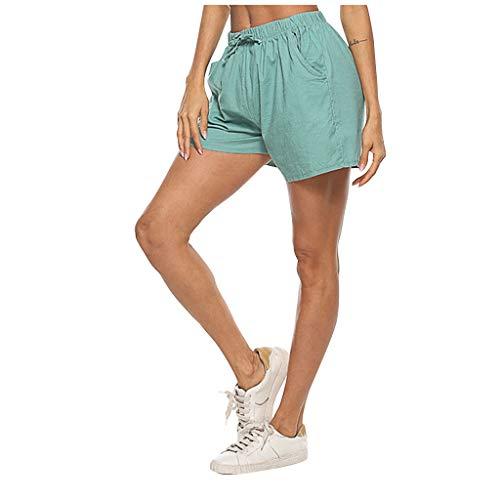 VEFSU Boxing Shorts Women's Daily Life Shorts Chino Shorts Cotton Drawstring Pants Linen Wide Leg Hot Shorts(b Mint Green,XL)