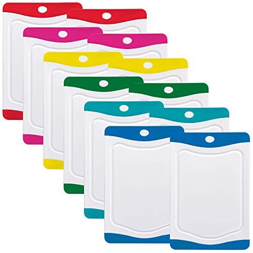 Rosenstein & Söhne Frühstücksbrettchen: 12er-Set Schneidebretter in 6 Farben, antibakteriell, je 20 x 15 cm (Schneidebrett Kunststoff Set)