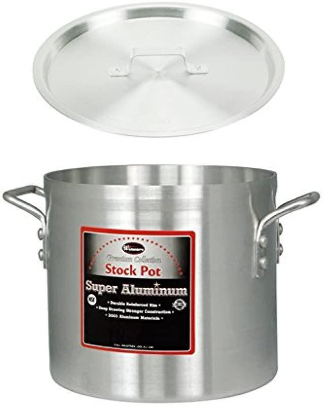 Winco AXS 12 12 Quart 10 X 9 Super Extra Heavy Aluminum Professional Stock Pot With Cover Commercial Grade Sauce Pot With Lid