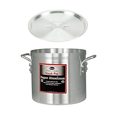 Winco AXS-20, 20-Quart 12  x 10-1/2  Super Extra-Heavy Aluminum Professional Stock Pot with Cover, Commercial Grade Sauce Pot with Lid