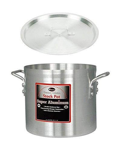 Winco AXS-40 , 40-Quart 14' x 15' Super Extra-Heavy Aluminum Professional Stock Pot with Cover, Commercial Grade Sauce Pot with Lid