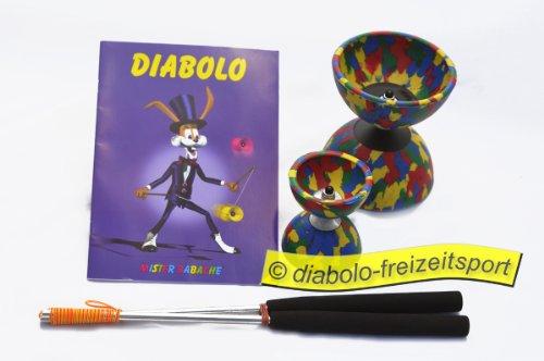 Diabolo 2er Set 1x Alustäbe/Heft/Diabolo Harlekin Med. 4farbig/+Diabolo Harlekin Mini 4farbig