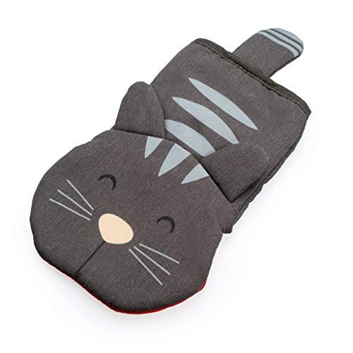 balvi Topfhandschuh Meow! Farbe Grau In Form Einer Katze Topfhandschuh für Grill, Herd und Backofen Hitzebeständig bis zu 250 °C Polyester/Silikon