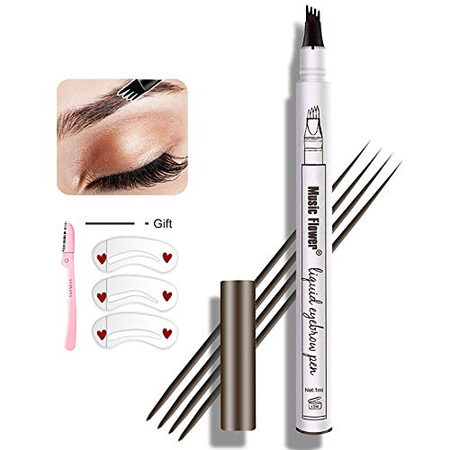 Eyebrow Pen , MoonKong Eyebrow Pencil Waterproof Brow Pen Eyebrow Makeup with a Micro-Fork Tip Applicator Creates Natural Looking and Stays on All Day Eyebrow Kits for Women With 3 Eyebrow Stencil,1 Eeyebrow Razor