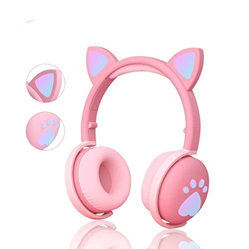 Liuying Bonitos auriculares para niños, inalámbricos, luces LED, orejas de gato, garras de gato,...