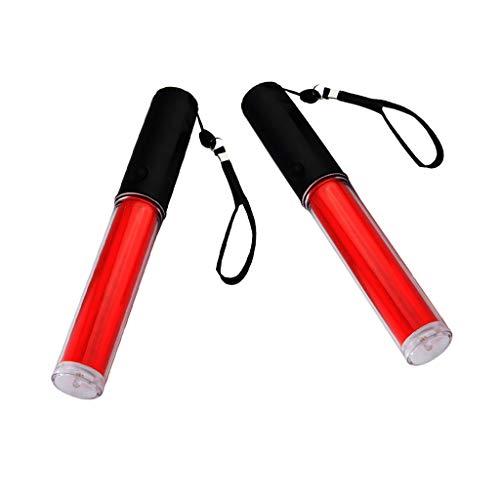 B Baosity 2 Unids LED Señal de Tráfico Linterna Varita para Control de Tráfico 2 Modos con Estroboscópico Ajustable Linterna de Emergencia
