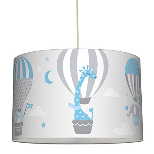 lovely label Hängelampe HEISSLUFTBALLOONS HELLBLAU/GRAU – Lampenschirm für Kinder/Baby, Schirm mit Tieren – Komplette Hängeleuchte für Kinderzimmer Mädchen & Junge