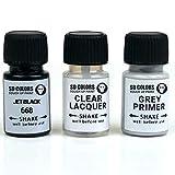 SD COLORS JET BLACK 668 - Vernice per ritocchi, 8 ml, per riparazione graffi e scheggiature, codice colore 668 nero jet (vernice+laccata+primer)