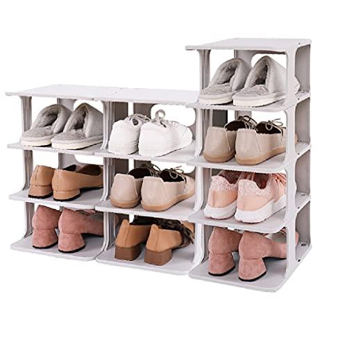 LOMJK Zapatera Pequeño Estante de Zapatos de 4 Niveles de plástico, Organizador...