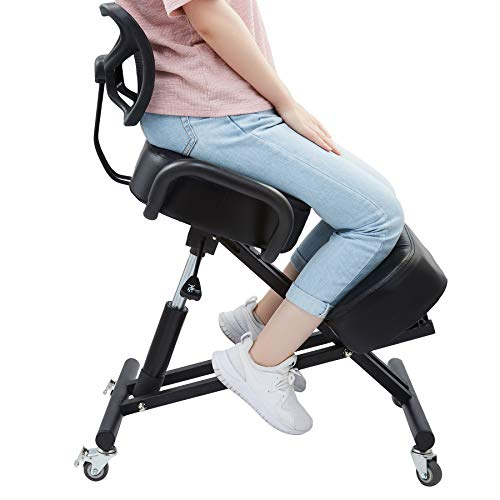 CO-Z Kneeling Chair with Back Support | Ergonomic Office Chair for Home or Office Desk | Adjustable Posture-Improving Desk Chair with Wheels and Thick Cushions, Black