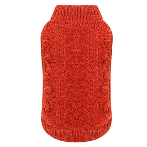 GYJ Pet Abbigliamento S/M/L/XL Vestiti del Cane Maglione Autunno e in Inverno Piccolo Cane Abbigliamento Invernale Abbigliamento Pet Accogliente (Color : Orange, Size : XL)