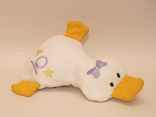 Kuscheltier Ente aus Bio Baumwoll Nicki und Frottee (lila), handgemacht, Personalisierbar mit Namen, Rassel, Knisterfolie Geschenk zur Geburt