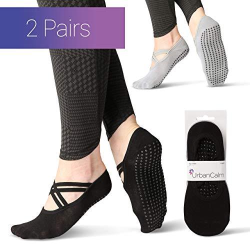 Urban Calm Bamboo Yoga Socks (2 Pairs) Providing Non Slip Grips And Straps. Ideal Socks For Yoga,...