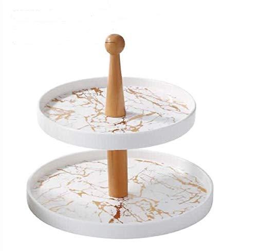 Trendmax Etagere 2-stufig Rund Marmor Design Porzellan für Dessert Muffin Cake Stand Servierstand Party Dekoration Obst weiß