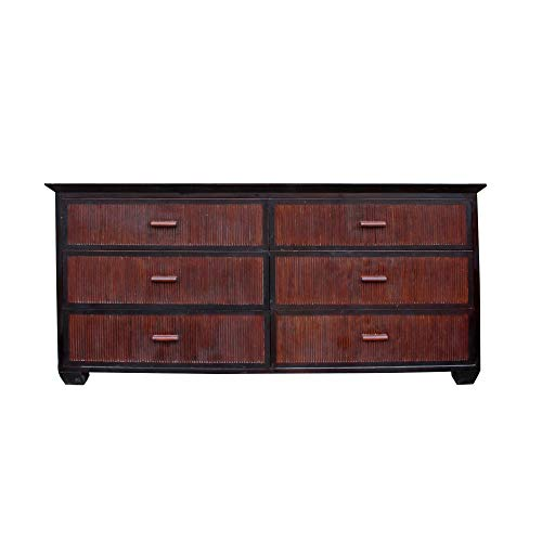 Oriental Bamboo Accent 6 Drawers Console Sideboard Table Cabinet Acs4940