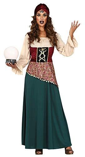 shoperama Zigeunerin Damen Kostüm Gipsy Kleid und Turban Wahrsagerin Zauberin Hellseherin, Größe:L